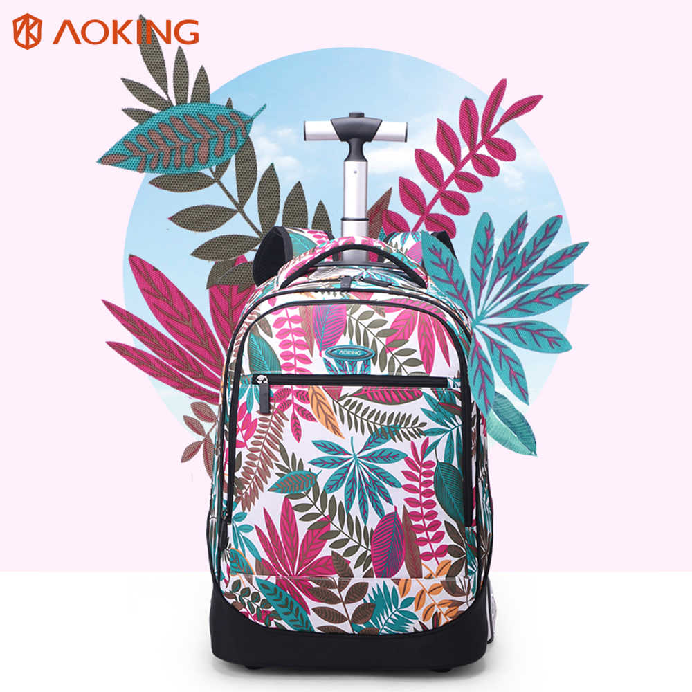 Aoking Travel Trolley Backpack Large Capacity Luggage Leisure Backpack Women Wheeled Rolling Bag Waterproof Laptop Bckpack
