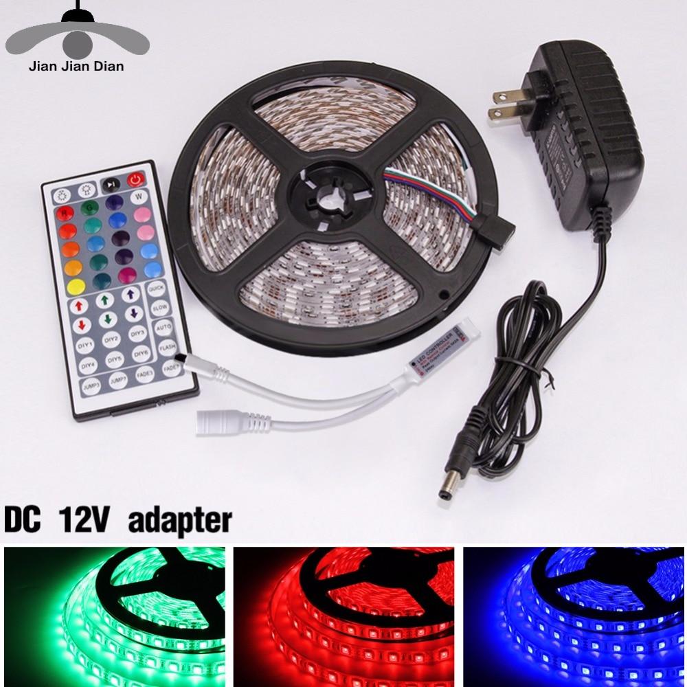 LED Strip Light DC 12V RGB SMD 2835 5050 44Key Power Remote 5M 10M 15M Full Set Waterproof Flexible Diode Ribbon Tape Lighting