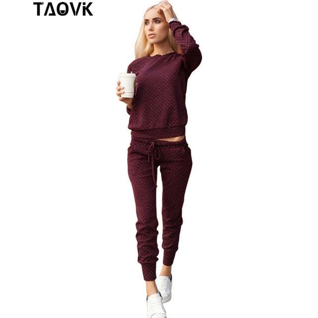 Taovk الموضة روسيا نمط رياضية للنساء ازياء 2-Piece يحدد البولكا نقطة الطباعة المرأة رياضية