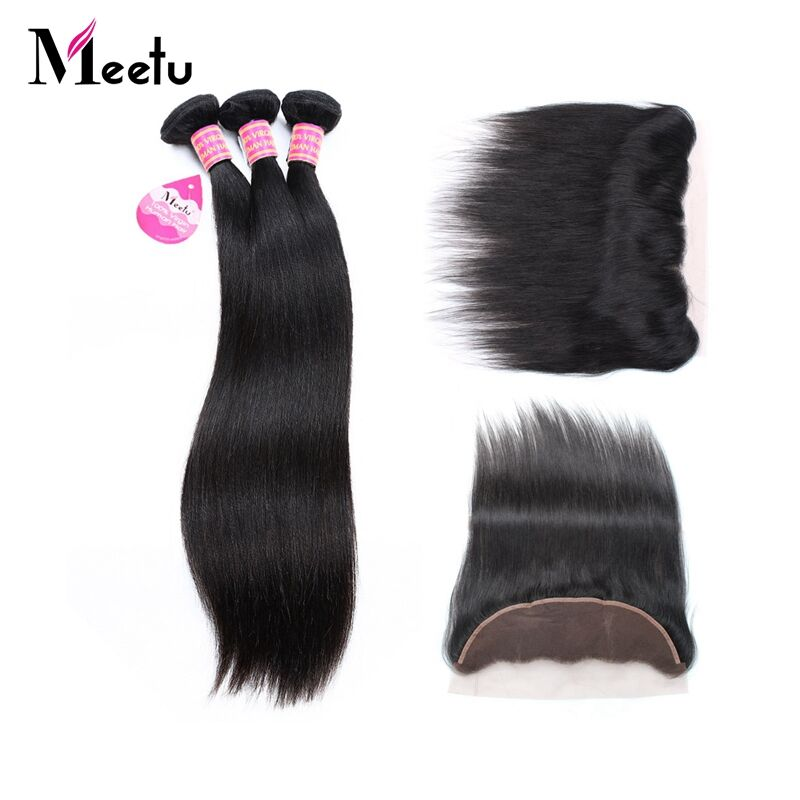 Meetu Malaysian Straight Hair 13x4 Lace Frontal Closure with 3 Bundles Non-Remy Human Hair with Frontal Closure Free Part Promot