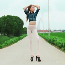 New Sexy See Through Pencil Pants Ice Silk White Leggings Transparent Causual Pants & Capris Nice Bottom Wear FX1032