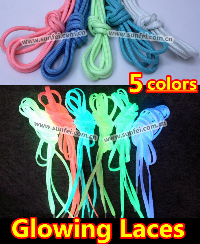 Glowing in the Dark Shoe Laces~Round Luminous Shoelaces 5 Colors ...
