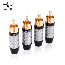 YYAUDIO 4 PCS Plugue RCA de ALTA FIDELIDADE de Alta Qualidade da Fibra do Carbono 24 k Gold-plated RCA Conectores