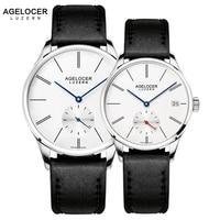 Agelocer Original Famous Brand Couple Watches Men Women Watches Mechanical Movement Date Day Waterproof Watch Minimalist Type