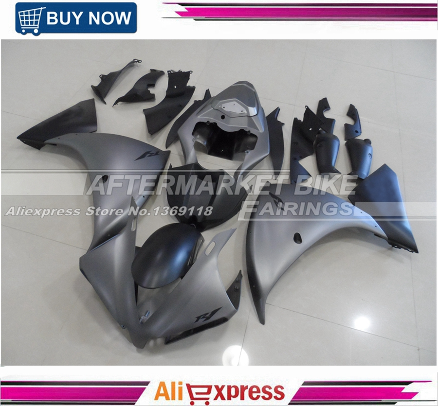 MATTE GREY YZF R1 2012-2014 ABS Injection Fairing Kit Bodywork For Yamaha Fairings With Matte Black Lower Fairing Sides for yamaha tmax530 2012 2014 plastic abs injection motorcycle fairing kit bodywork cowlings