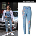 Women 3D Flower Embroidery Denim Jeans Fashion Causal High Waisted BF Jeans Hot Girl's Ankle Length Pants Plus Size 44