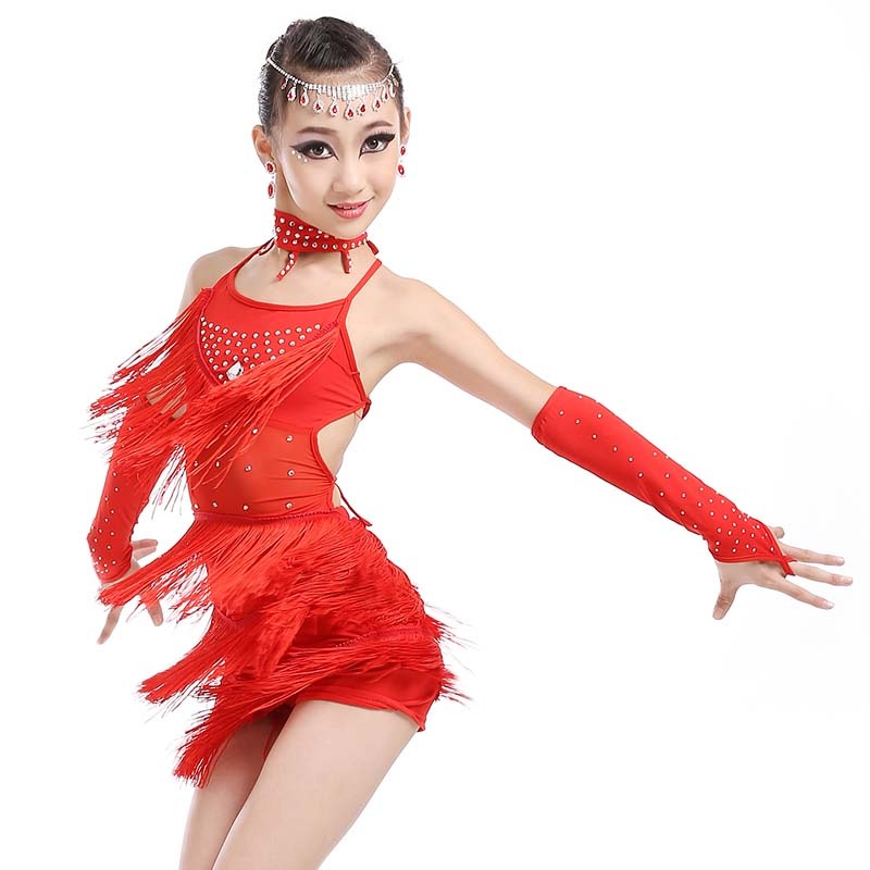 Latin dance costumes girl dance skirt children jerseys show womens Latin costume tassels skirt samba clothes