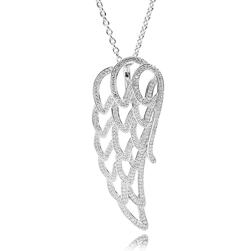 New 925 Sterling Silver Necklace Angel Wing With Clear Cubic Zirconia Pendant Necklaces For Women Wedding Gift Fine Jewelry