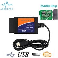 Elm327 USB OBD2 диагностический сканер для автомобилей 1,5 реальное оборудование Elm 327 V1.5 Pic18F25K80 чипы OBD 2 автоматический сканер диагностический инструмент