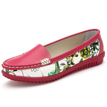 New Pointed Toe Print Women Flats Genuine Leather Casual Shoes Woman Candy Color Flat Shoes Comfortable Women's Shoes WSH1113