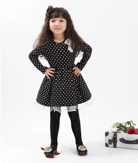 95ea4788fcf03 New 2014 Spring Winter Kids Girl Baby Clothing Girls Solid Dot Princess  Party Dresses Kids Full Sleeve Lace Dress Size 3 7 Years-in Dresses from  Mother ...