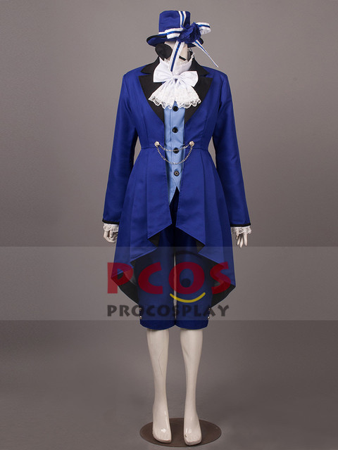 Deluxe Blue Black Butler Kuroshitsuji Ciel Phantomhive Cosplay Costume &  Hat & eye mask mp000024