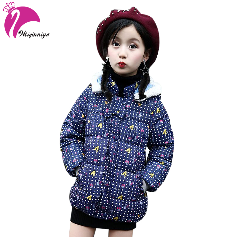 Jackets For Girls Winter Cotton Down Jacket For Girl Down Parkas With Fur Hooded Polka Dot Outwear Coats Children's Clothing Hot jackets for girls winter cotton down jacket for girl down parkas with fur hooded polka dot outwear coats children s clothing hot