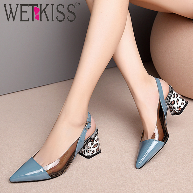 WETKISS Leather Sandals Women Pointed Toe Footwear Transparent Pvc Fashion Shoes Leopard High Heels Gladiator Shoes