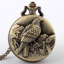Vintage Jewelry Antique Bronze Eagle Carving Quartz Pocket Watch Necklace Pendant Chain Men Women Watch Gift Reloj de bolsillo