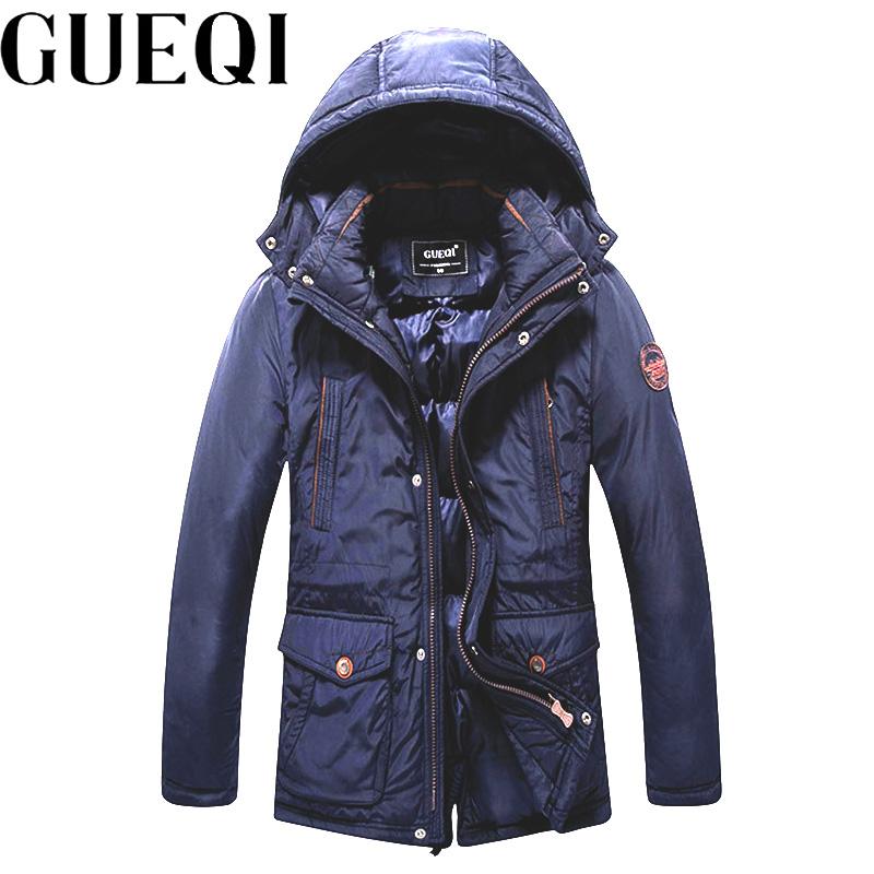 GUEQI Brand New Men Hooded Outerwear Plus Size M-3XL Cold Winter ADD Fleece Parka 2017 Man Warm Casual Jackets spring design popular men s hooded fleece black yellow size xl