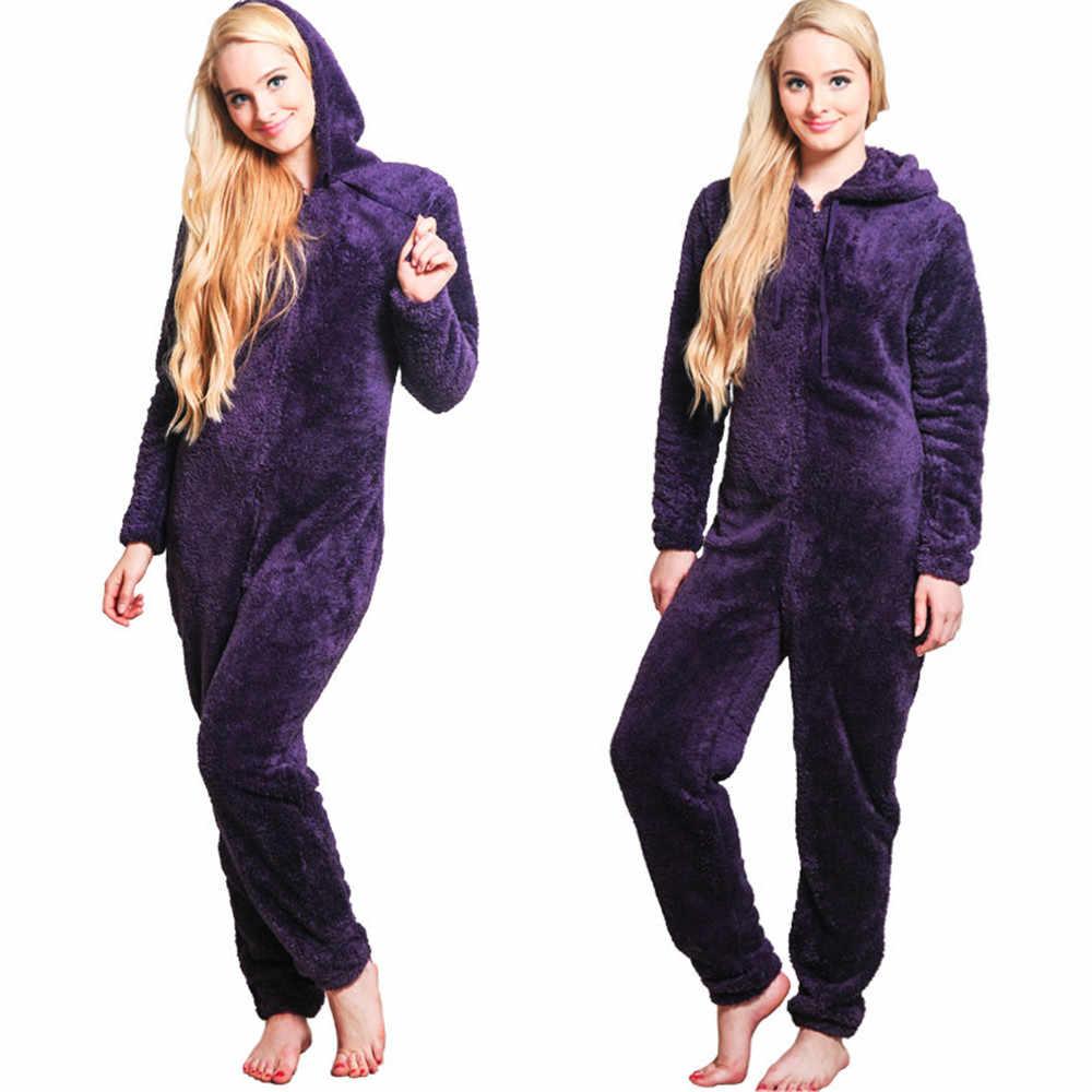 נשים החורף חמה Onesies פיג פלאפי צמר הלבשת כולל הוד סטי פיג 'מה סרבל תינוקות Homewear לנשים למבוגרים בתוספת גודל