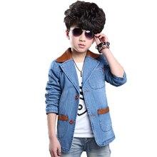 2016 новая мода осень зима мальчиков пальто джинсовой мальчик куртки с длинным рукавом однобортный дети куртки мальчиков случайный верхней одежды