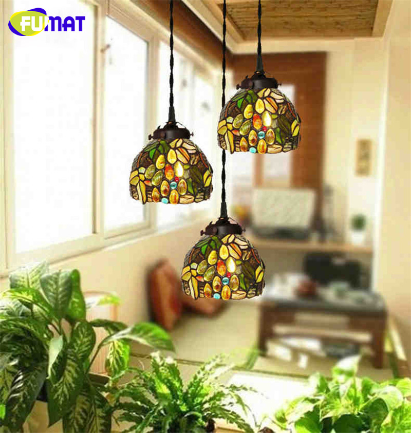 FUMAT Stained Glass Pendant Light LED glass Pendant Lamp For Living Room Dining Room LED Glass Lampshade Lights Pendant Lamps fumat stained glass pendant lamps european style glass lamp for living room dining room baroque glass art pendant lights led