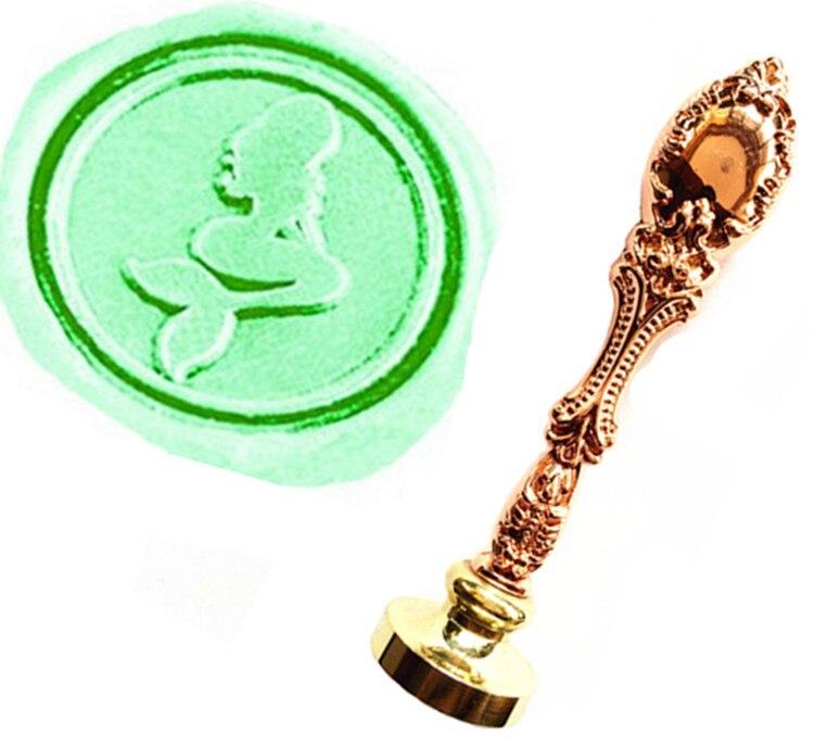 MDLG Vintage Pretty Mermaid Custom Picture Logo Luxury Wax Seal Sealing Stamp Brass Peacock Metal Handle Gift Set