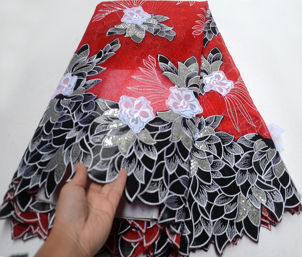 Fashion African Lace Fabric Black and red Lace Nigerian Lace Fabric 2019 High Quality Tulle Lace With paillette 5 Yards