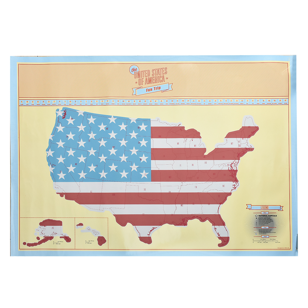 American Scratch Map US Version travel Poster Map Home Wall ...