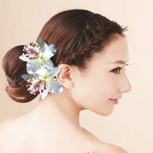 6 pcs summer hawaii beach hair accessories wedding bridal hair clip pins orchid flower hair claws