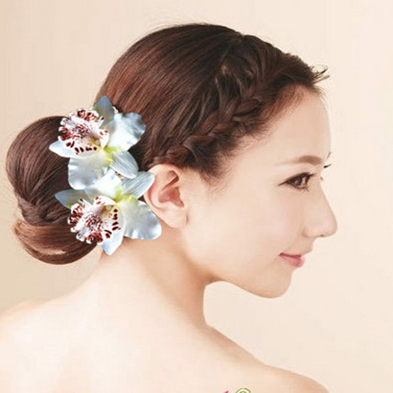 6 pcs Summer Hawaii Beach Hair Accessories Wedding Bridal Hair Clip Pins Orchid Flower Hair Claws Hairgrip Part