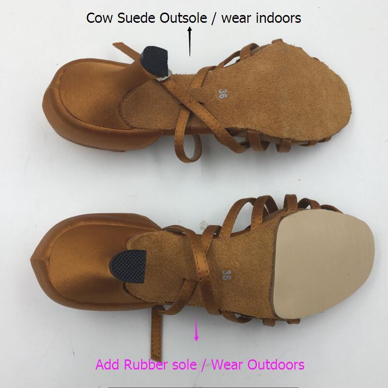 Rubber Outsole Add For Women Zapatos De Baile Latin Ballroom Salsa Dance Shoes Professional EVKOOdance