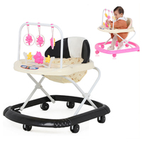 3 Levels Adjustable Folding Baby Walker Musical with Wheels Walker Asisstant Toddler Learning Walking Aid Rocking Horse 6 M~2 Y
