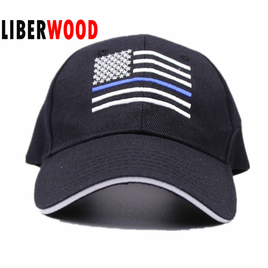 24d73778950c6 Thin Blue Line Flag Low Profile Police Baseball Cap Law Enforcement Hat  embroidery USA America flag hat Blue Lives Matter Hat