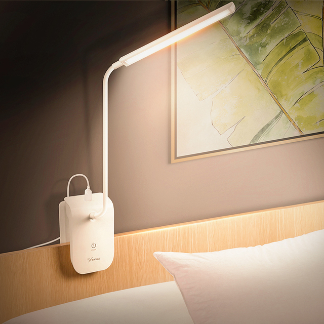 YAGE book Light night lamp reading light usb 22 led desk clip led lights touch switch lamp with clip Removable lamp bending lamp