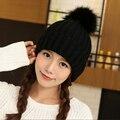 2016 новая мода Зима меховая шапка женщины супер мяч шерстяная шапочка женский шерсть вязаная шапка большой волосы мяч Шапочки
