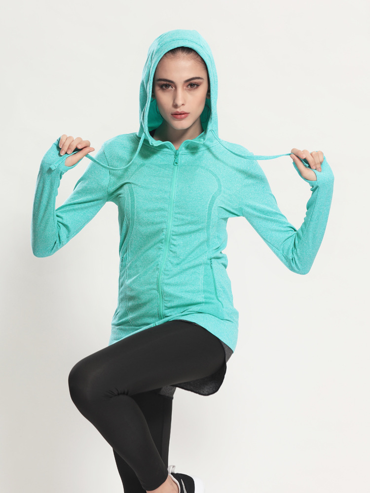 Autumn new font b women b font s sports fitness yoga large yards loose hooded zipper