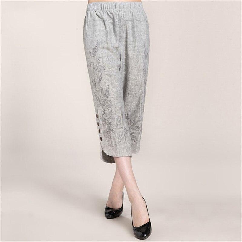 Aliexpress.com : Buy L 6XL Women's Summer Linen Capris Pants 2016 ...