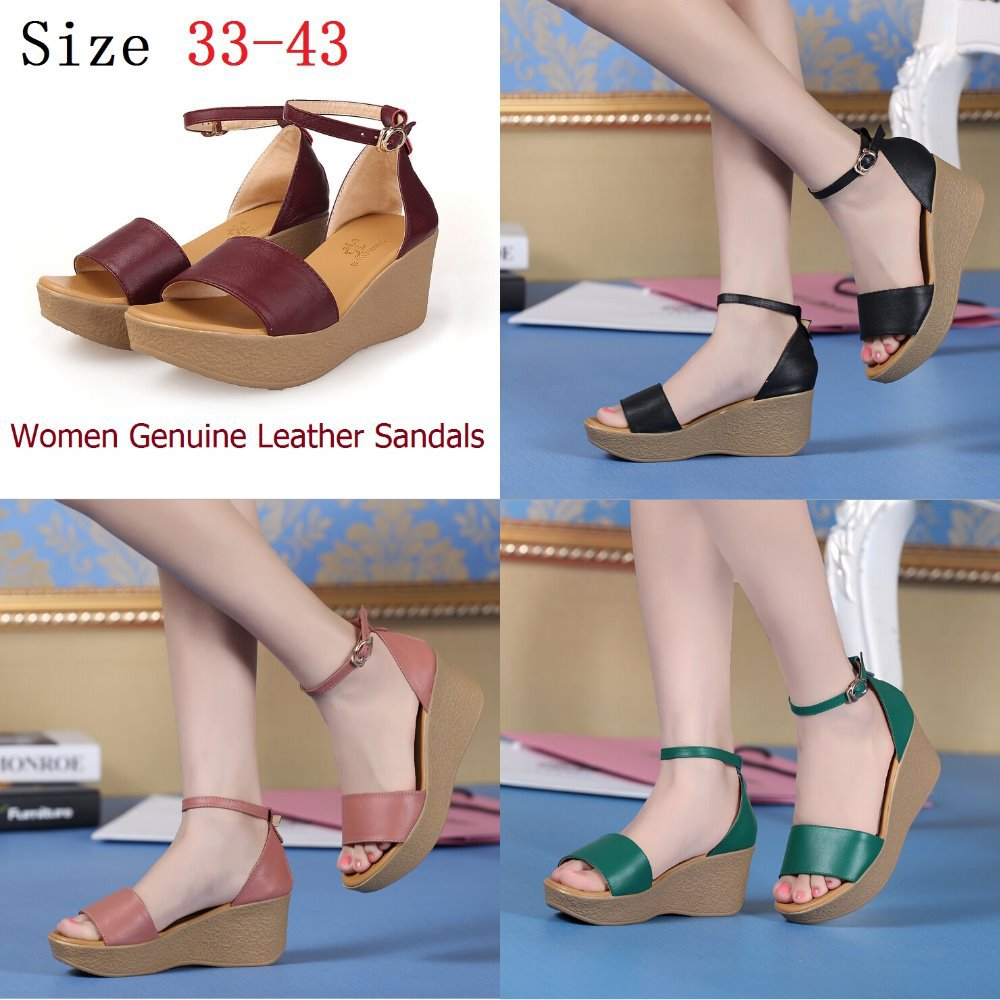 ФОТО Size 33-43 sandals women genuine leather slippers summer shoes woman casual shoes wedges mother flip flops sandalias small size