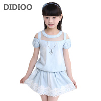 Summer Girls Clothes Cotton Casual Children Clothing Solid T Shirt Skirts 2Pcs Girls Clothing Sets Cute