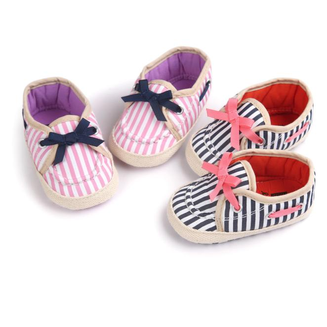 2018 Cute Girl Stripe Canvas Shoe Baby Boys Shoes Sneaker Anti-slip Soft Sole Toddler For Baby G1207