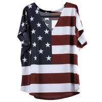 Women Casual T Shirt Top Stars Striped Print Top Crop American Flag Pattern Female T-shirts New