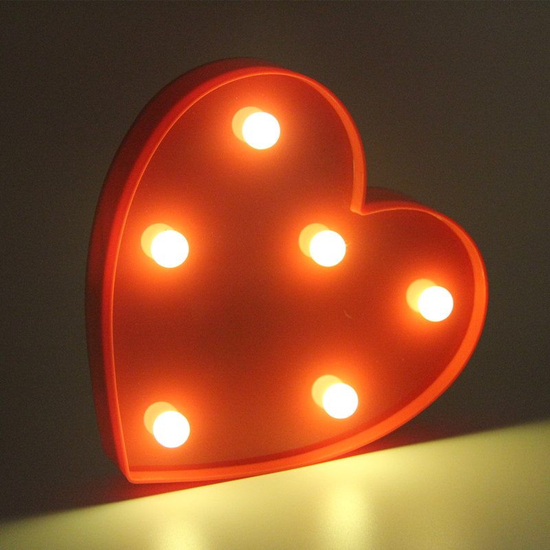 ZESOL Lucu 3D Love Heart Marquee meja LED lampu malam lampu bateri - Pencahayaan perayaan - Foto 3