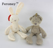 Sozzy Teddy Bear Rabbit Mobile Musical Plush Doll Toys Baby Soft Rattle Toys with Ring Bell infants Early Education Toys(China)