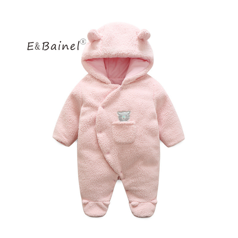 E&Bainel Winter Newborn Baby Clothes White Pink Baby Romper For Baby Romper Hooded Fleece Girl Boy Overall Baby Costume Jumpsuit baby pink v neck tassel detailed jumpsuit
