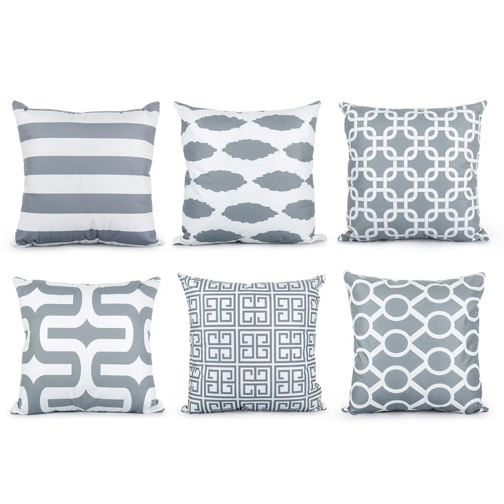 Topfinel Geometric Cushion Cover Cheap Grey Pillow Covers for Puff ...