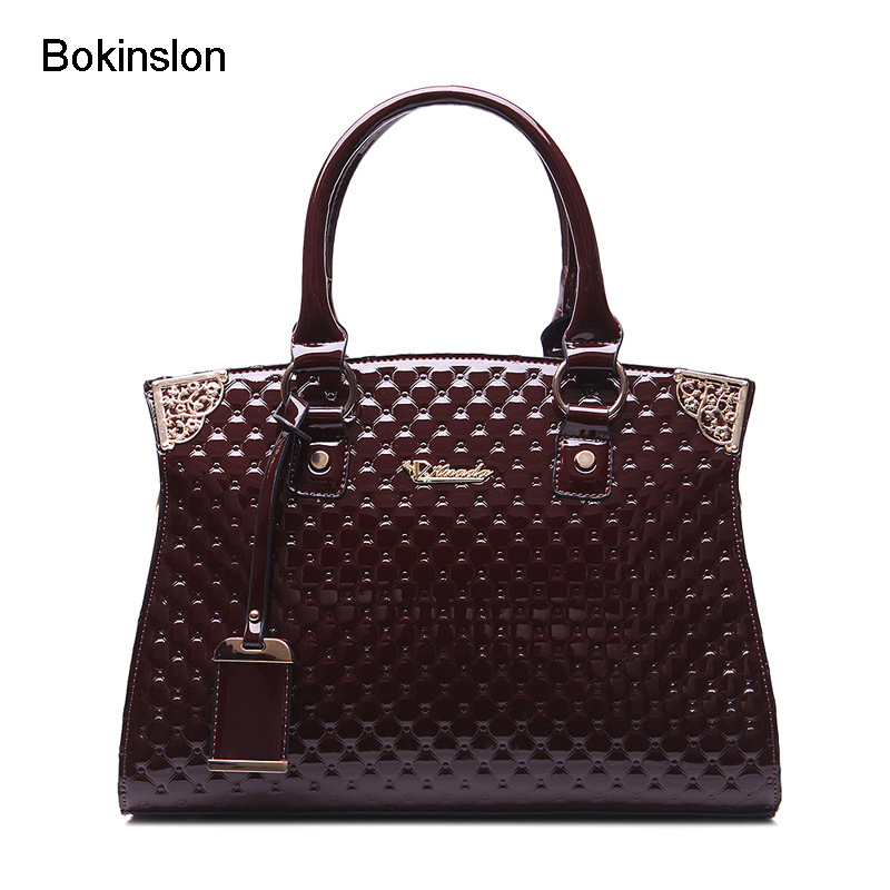 Bokinslon Handbags Woman Bags Split Leather Fashion Women Shoulder Bags Retro Embossed Ladies Crossbody Bag fashion matte retro women bags cow split leather bags women shoulder bag chain messenger bags