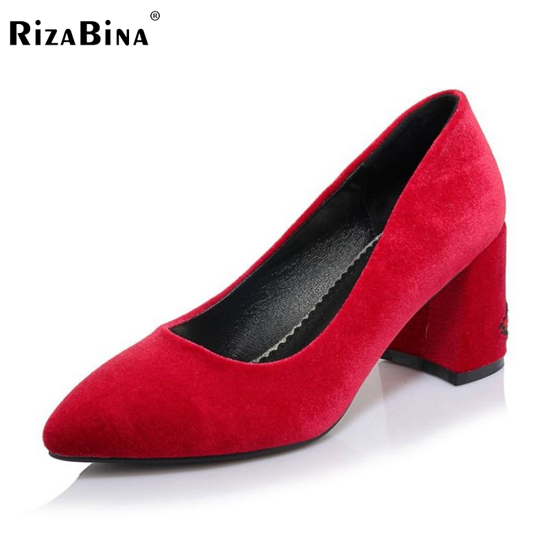 RizaBina Size 32-42 Office Lady High Heel Shoes Women Flower Pointed Toe Solid Color Thick Heel Pumps Party Club Women Shoes 2017 new fashion brand spring shoes large size crystal pointed toe kid suede thick heel women pumps party sweet office lady shoe