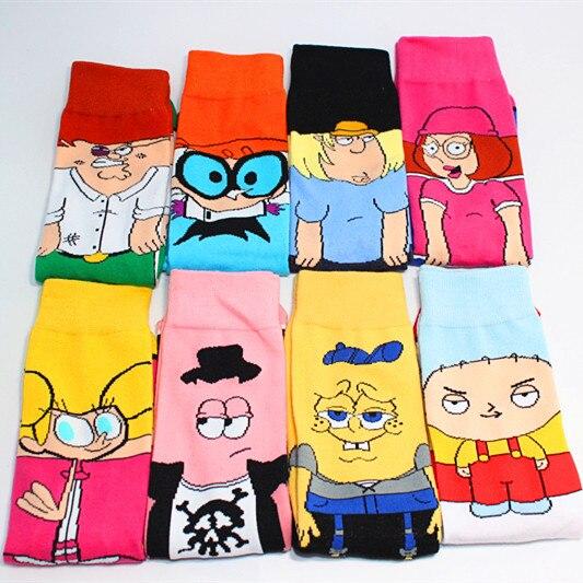 Funny Cartoon Anime Print Socks Patrick Star Personalized Novelty SOCKS Men Women Breathable Cotton Hip Hop Sock Gifts for Men