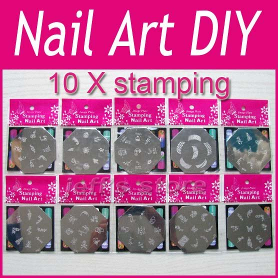 Free shipping 10x Nail Art Stamp Stamping Image Template Plate DIY ...