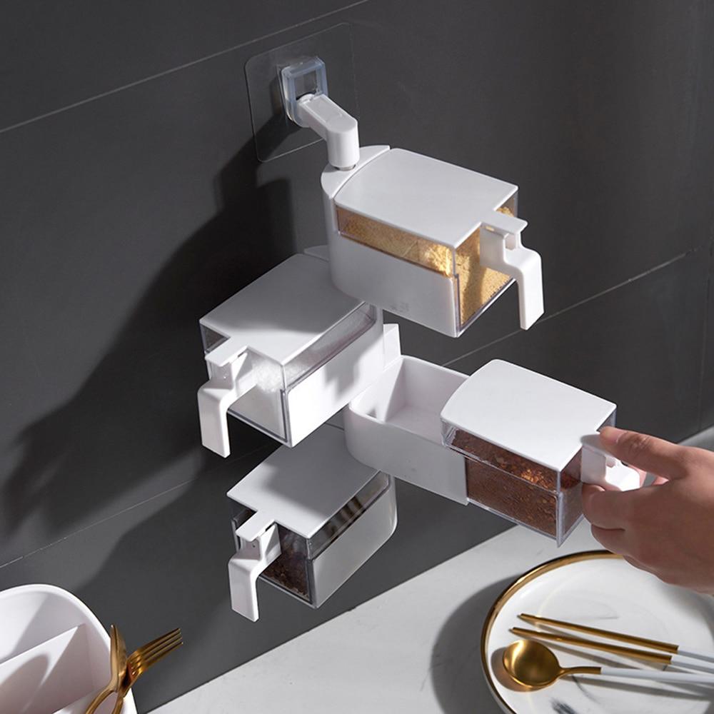 Kitchen Wall-mounted Seasoning Box Set Household Supplies Seasoning Jar Free Punching Sugar Salt Msg Seasoning Box(China)