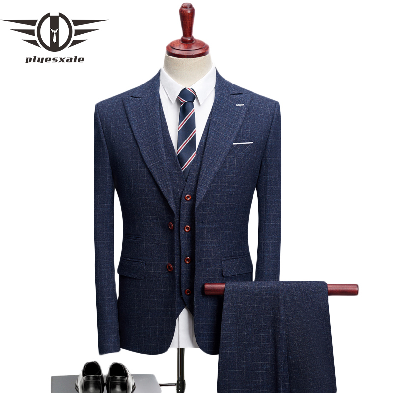Hot Sale Plyesxale Men Wedding Suits 2018 New Arrival Slim Fit Navy