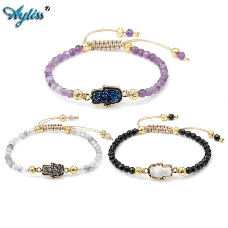 Strand Bracelets Bracelets & Bangles Faithful Ayliss Latest Design Wholesale Hamsa Hand Charm Macrame 4mm Stone Bead Adjustable Bracelet Jewelry For Women Girls 1x/6x/12x In Short Supply